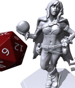 3D model of an adventuring warlock holding an orb and wearing a scowl. A red d20 is next to tge model for scale.